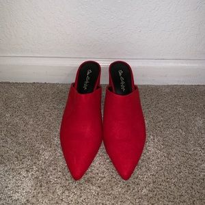 NEVER WORN red high heeled mules